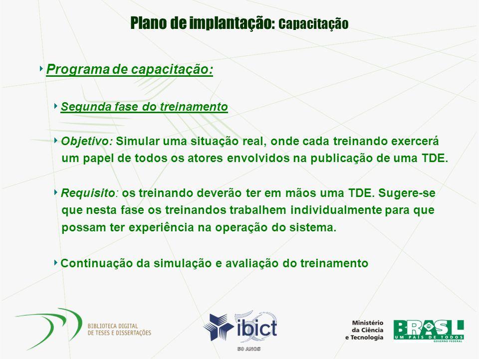 Plano de implantação: Capacitação Programa de capacitação: Segunda fase do treinamento Objetivo: Simular uma situação real, onde cada treinando exerce