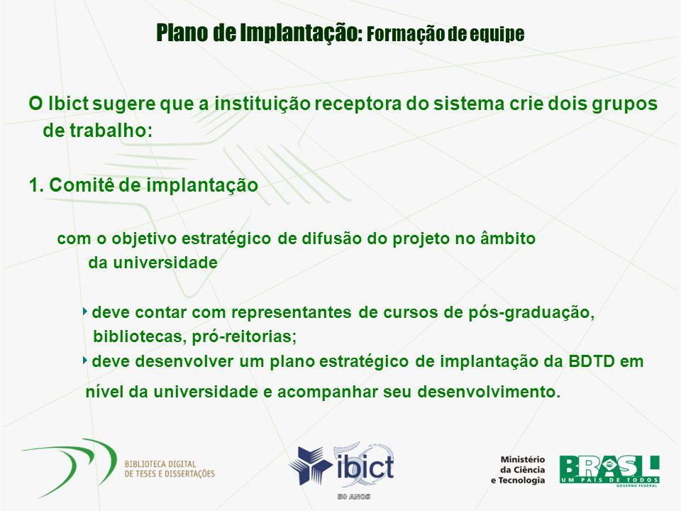 Plano de Implantação: Formação de equipe O Ibict sugere que a instituição receptora do sistema crie dois grupos de trabalho: 1. Comitê de implantação