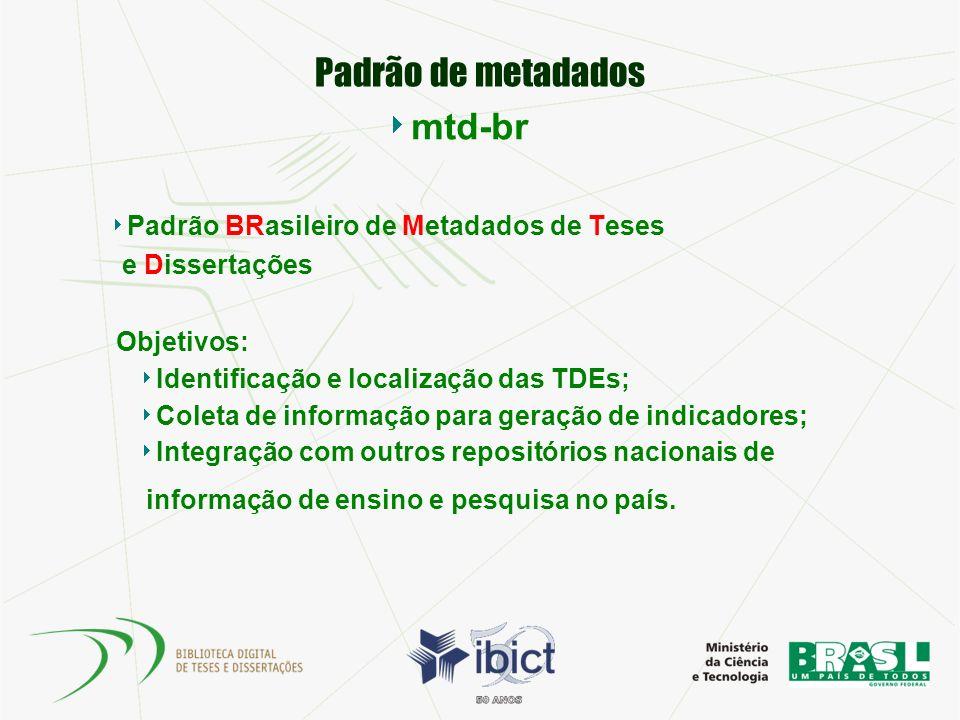 Padrão de metadados mtd-br Padrão BRasileiro de Metadados de Teses e Dissertações Objetivos: Identificação e localização das TDEs; Coleta de informaçã