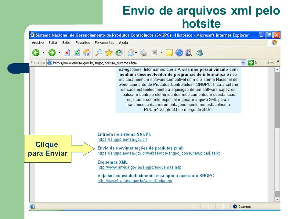 Clique para Enviar Envio de arquivos xml pelo hotsite