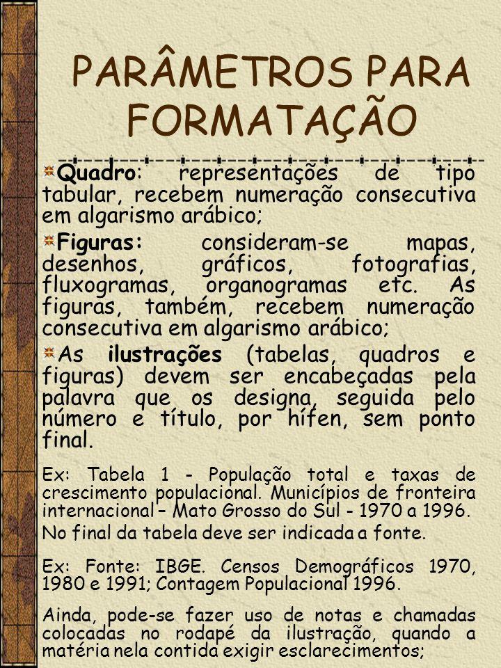 PARÂMETROS PARA FORMATAÇÃO Quadro: representações de tipo tabular, recebem numeração consecutiva em algarismo arábico; Figuras: consideram-se mapas, d