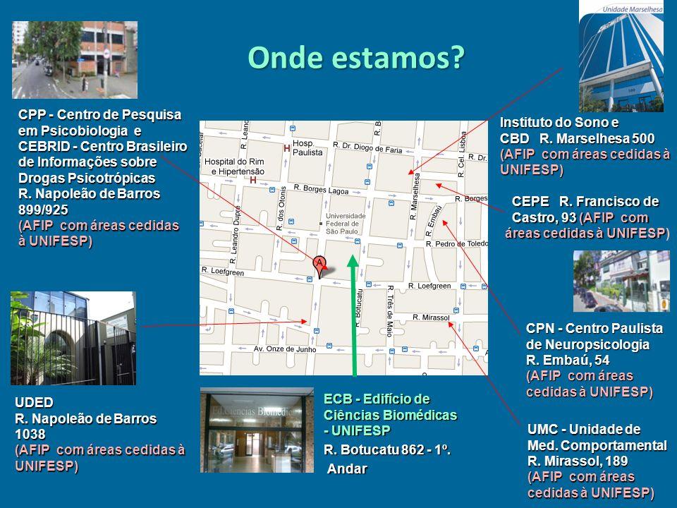 Onde estamos? ECB - Edifício de Ciências Biomédicas - UNIFESP R. Botucatu 862 - 1º. Andar Andar Instituto do Sono e CBD R. Marselhesa 500 (AFIP com ár