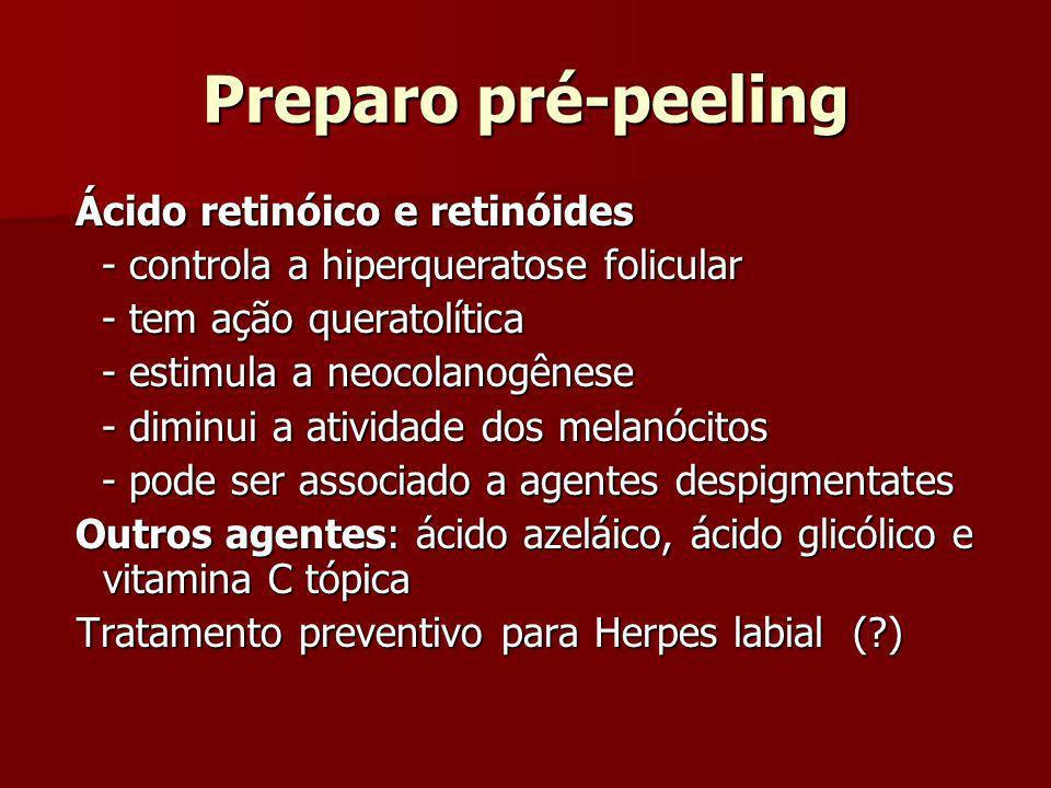 Preparo pré-peeling Ácido retinóico e retinóides Ácido retinóico e retinóides - controla a hiperqueratose folicular - controla a hiperqueratose folicu