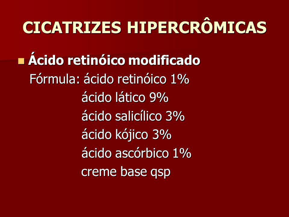 CICATRIZES HIPERCRÔMICAS Ácido retinóico modificado Ácido retinóico modificado Fórmula: ácido retinóico 1% Fórmula: ácido retinóico 1% ácido lático 9%