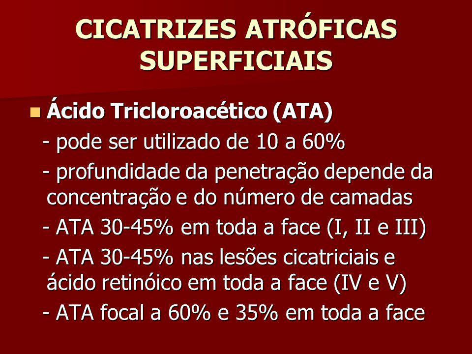 CICATRIZES ATRÓFICAS SUPERFICIAIS Ácido Tricloroacético (ATA) Ácido Tricloroacético (ATA) - pode ser utilizado de 10 a 60% - pode ser utilizado de 10