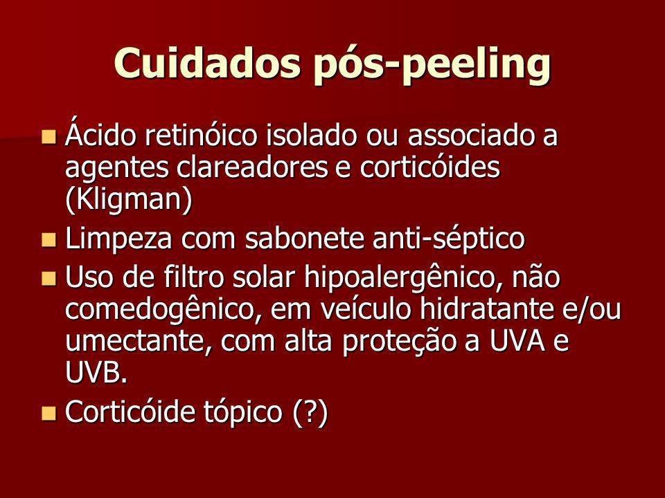Cuidados pós-peeling Ácido retinóico isolado ou associado a agentes clareadores e corticóides (Kligman) Ácido retinóico isolado ou associado a agentes