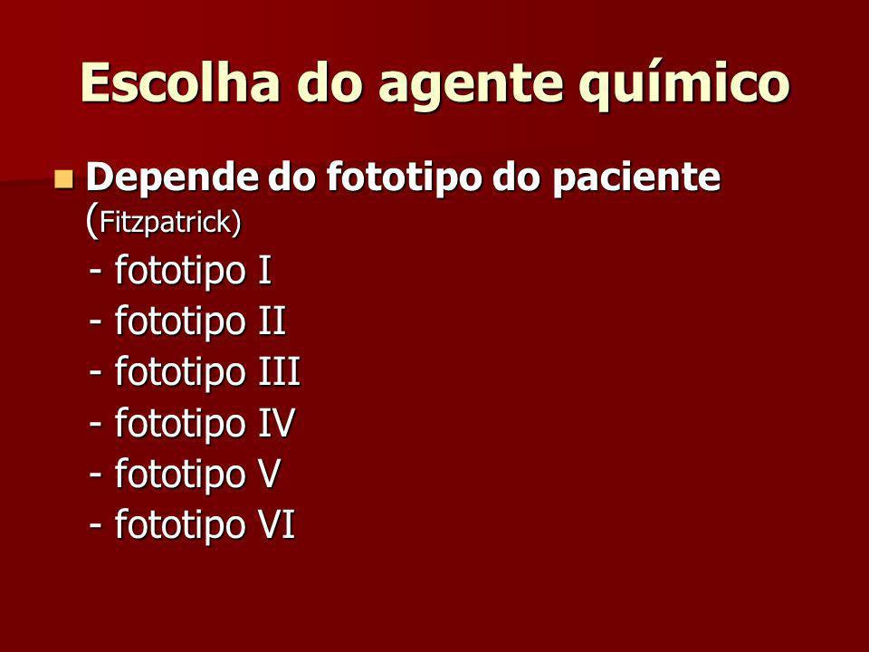 Escolha do agente químico Depende do fototipo do paciente ( Fitzpatrick) Depende do fototipo do paciente ( Fitzpatrick) - fototipo I - fototipo I - fo