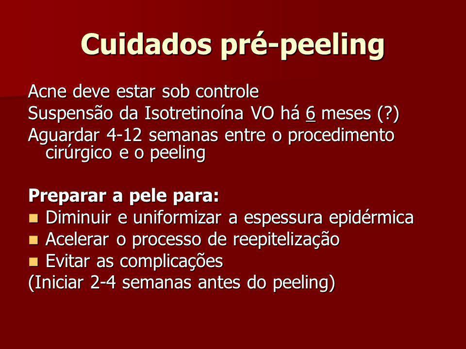 Cuidados pré-peeling Acne deve estar sob controle Suspensão da Isotretinoína VO há 6 meses (?) Aguardar 4-12 semanas entre o procedimento cirúrgico e