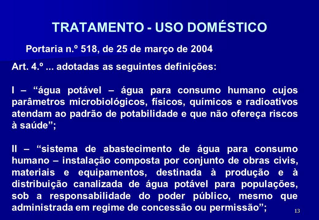 13 TRATAMENTO - USO DOMÉSTICO Portaria n.º 518, de 25 de março de 2004 Art. 4.º... adotadas as seguintes definições: I – água potável – água para cons