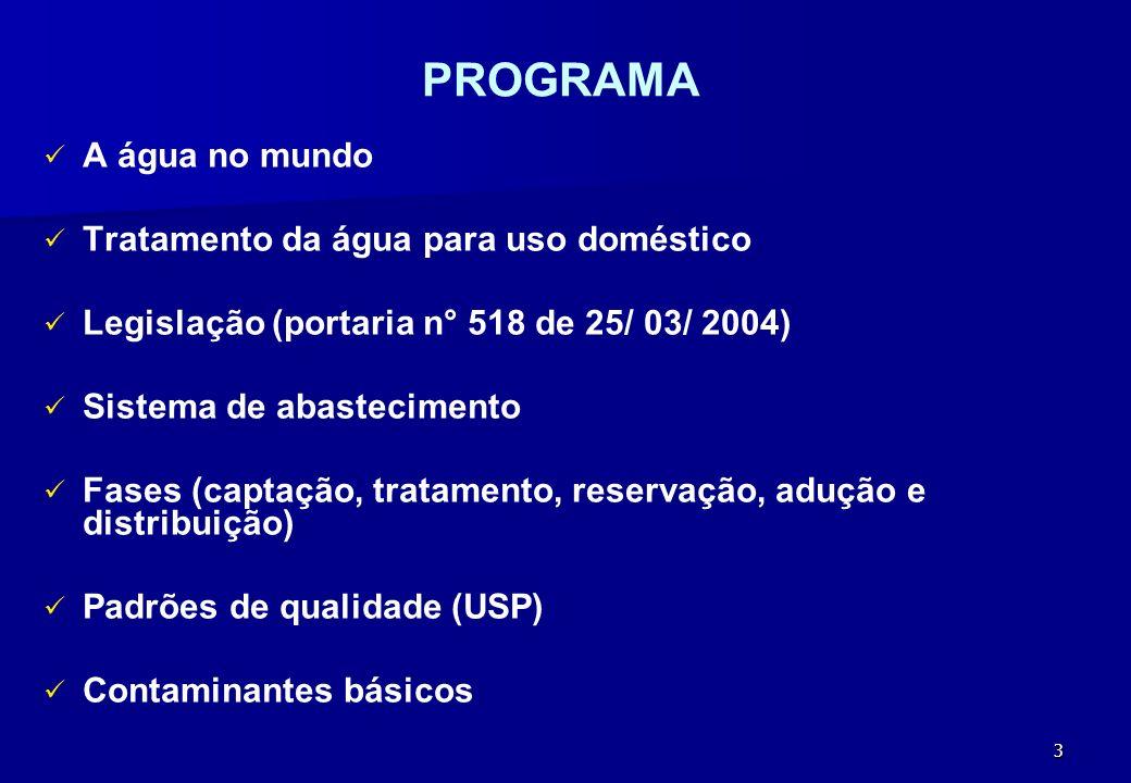 3 PROGRAMA A água no mundo Tratamento da água para uso doméstico Legislação (portaria n° 518 de 25/ 03/ 2004) Sistema de abastecimento Fases (captação