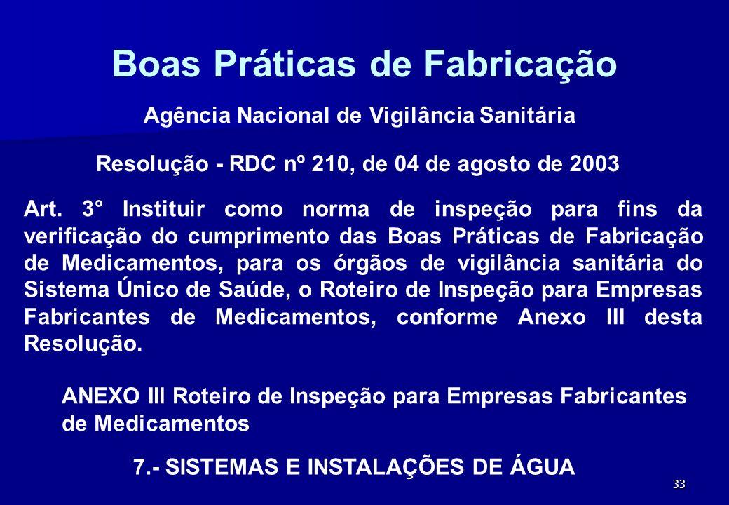 33 Boas Práticas de Fabricação Resolução - RDC nº 210, de 04 de agosto de 2003 Agência Nacional de Vigilância Sanitária ANEXO III Roteiro de Inspeção