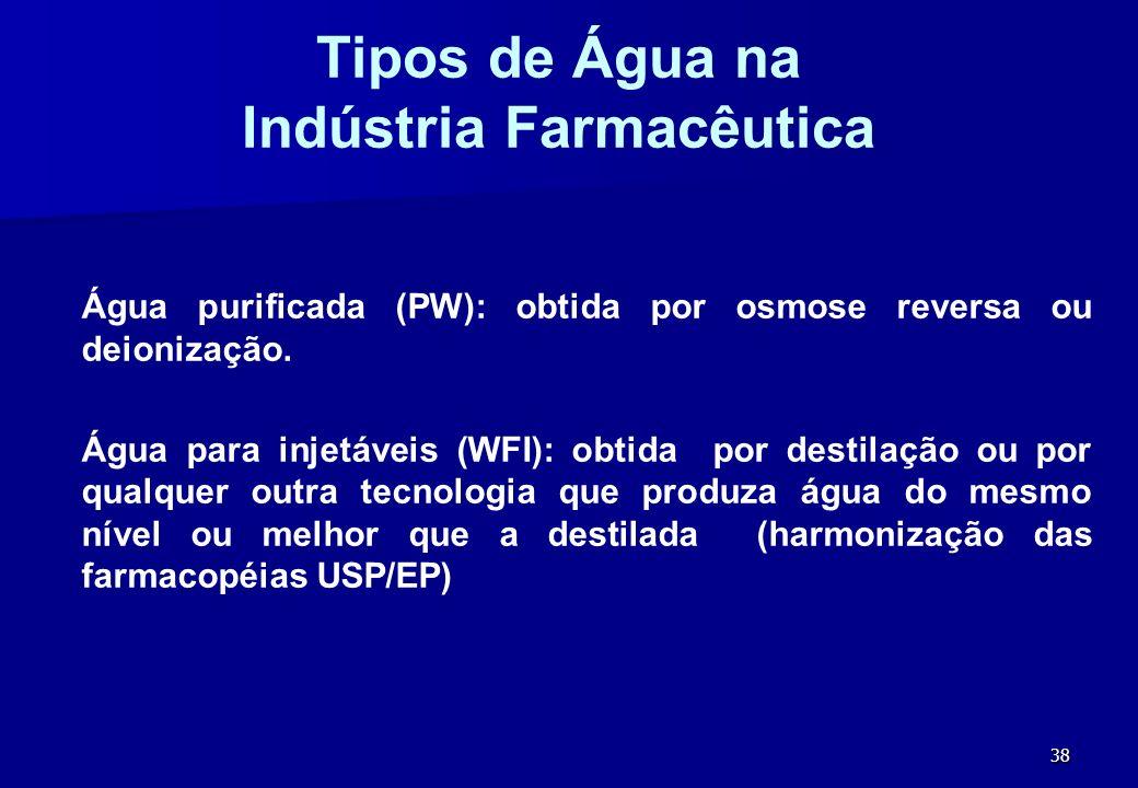 38 Tipos de Água na Indústria Farmacêutica Água purificada (PW): obtida por osmose reversa ou deionização. Água para injetáveis (WFI): obtida por dest