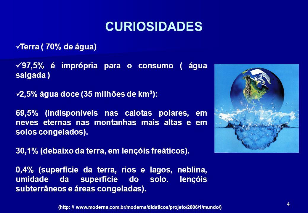 4 CURIOSIDADES Terra ( 70% de água) 97,5% é imprópria para o consumo ( água salgada ) 2,5% água doce (35 milhões de km 3 ): 69,5% (indisponíveis nas c