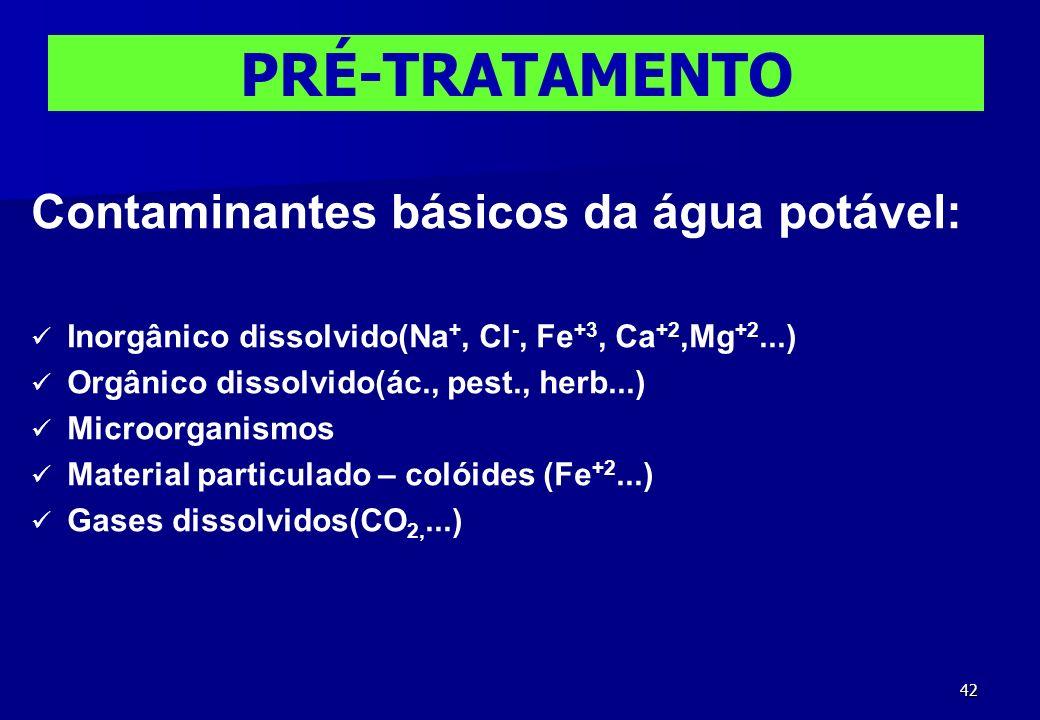 42 Contaminantes básicos da água potável: Inorgânico dissolvido(Na +, Cl -, Fe +3, Ca +2,Mg +2...) Orgânico dissolvido(ác., pest., herb...) Microorgan