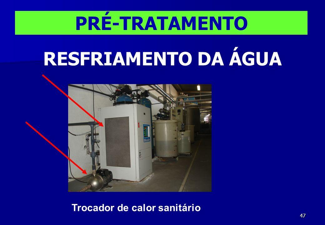 47 PRÉ-TRATAMENTO RESFRIAMENTO DA ÁGUA Trocador de calor sanitário