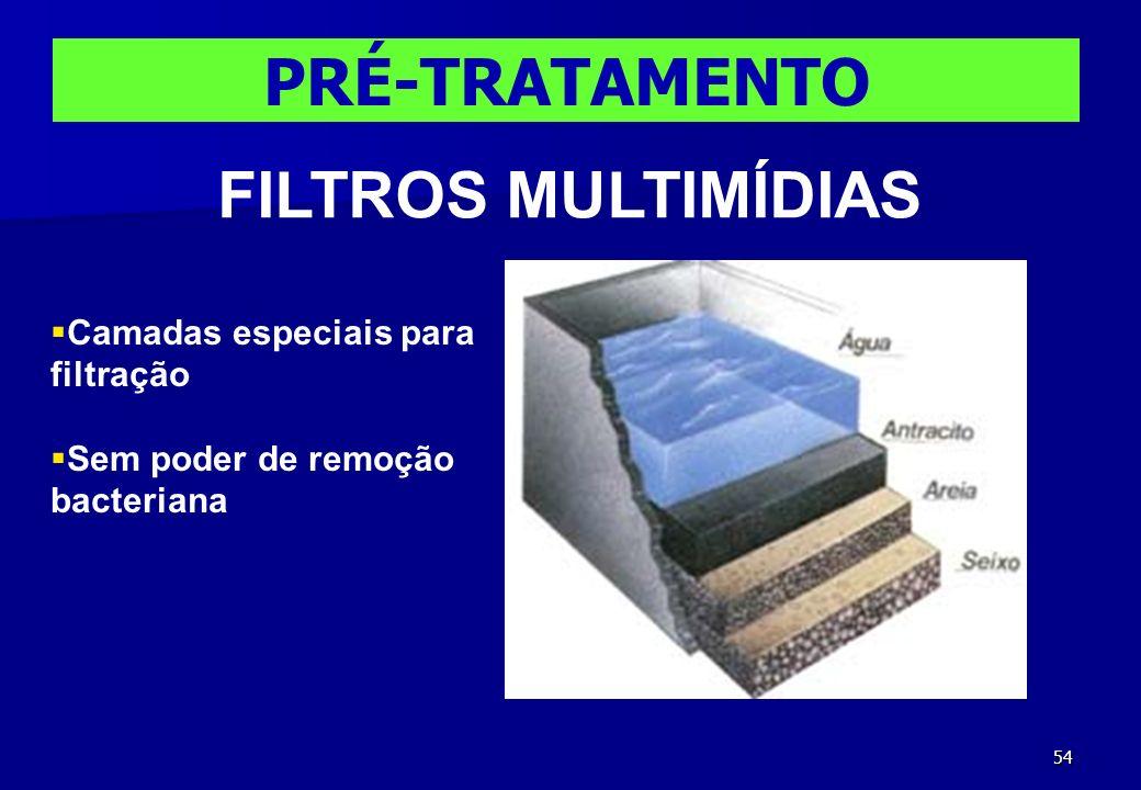 54 PRÉ-TRATAMENTO FILTROS MULTIMÍDIAS Camadas especiais para filtração Sem poder de remoção bacteriana