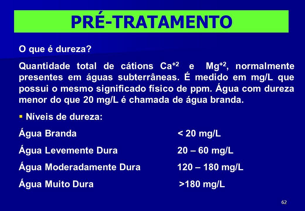 62 PRÉ-TRATAMENTO O que é dureza? Quantidade total de cátions Ca +2 e Mg +2, normalmente presentes em águas subterrâneas. É medido em mg/L que possui