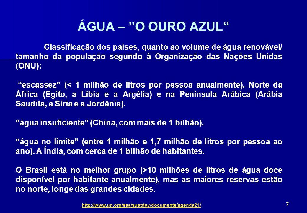 7 ÁGUA – O OURO AZUL Classificação dos países, quanto ao volume de água renovável/ tamanho da população segundo à Organização das Nações Unidas (ONU):