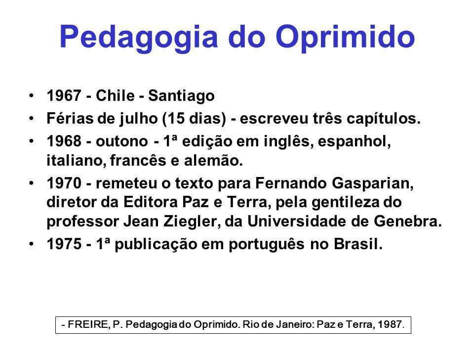 Pedagogia do Oprimido 1967 - Chile - Santiago Férias de julho (15 dias) - escreveu três capítulos. 1968 - outono - 1ª edição em inglês, espanhol, ital