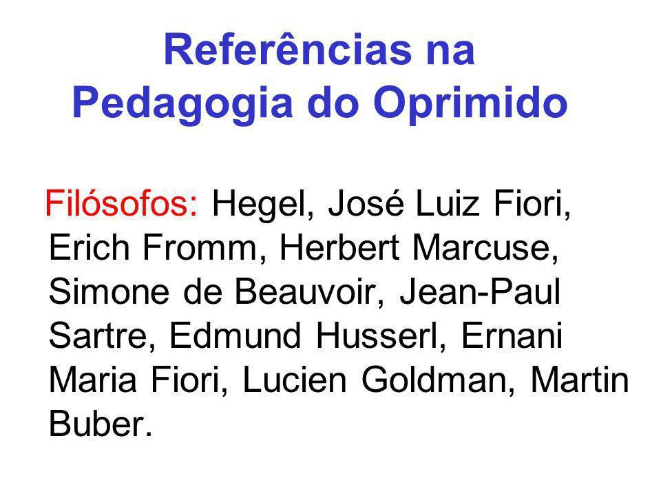 Referências na Pedagogia do Oprimido Filósofos: Hegel, José Luiz Fiori, Erich Fromm, Herbert Marcuse, Simone de Beauvoir, Jean-Paul Sartre, Edmund Hus