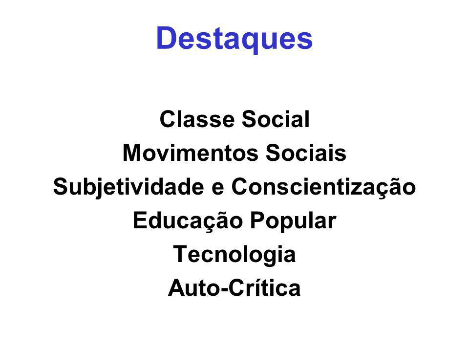 Classe Social Movimentos Sociais Subjetividade e Conscientização Educação Popular Tecnologia Auto-Crítica Destaques