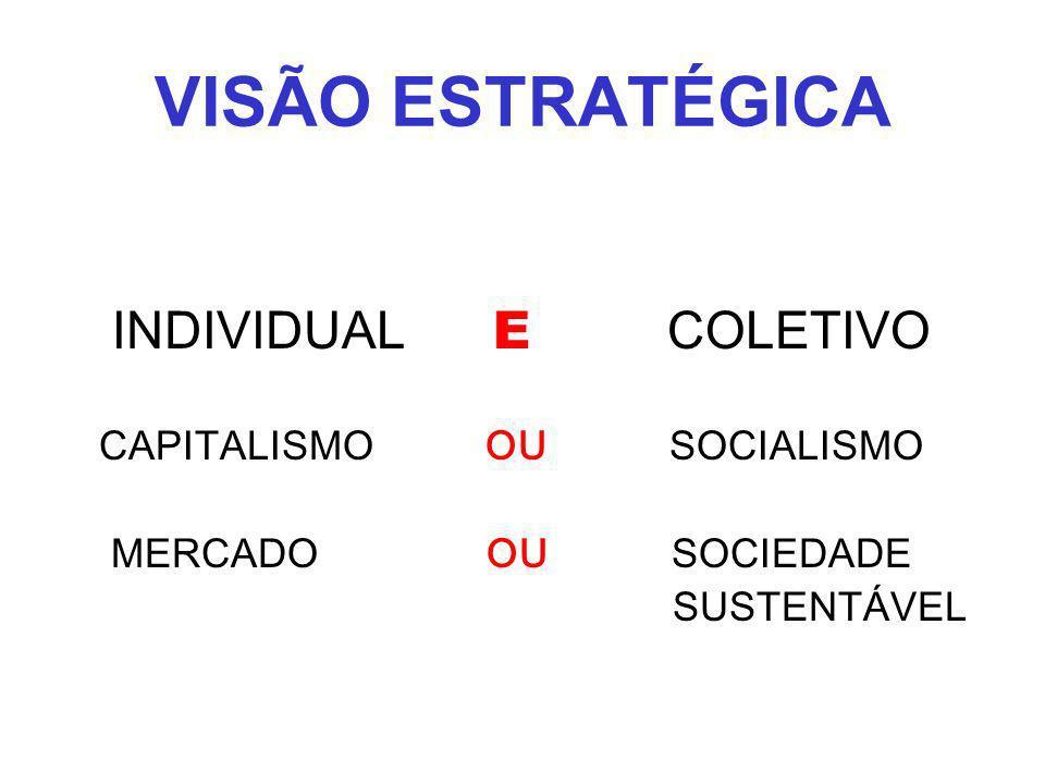 VISÃO ESTRATÉGICA INDIVIDUAL E COLETIVO CAPITALISMO OU SOCIALISMO MERCADO OU SOCIEDADE SUSTENTÁVEL