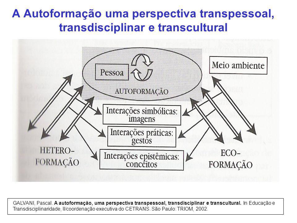A Autoformação uma perspectiva transpessoal, transdisciplinar e transcultural GALVANI, Pascal. A autoformação, uma perspectiva transpessoal, transdisc