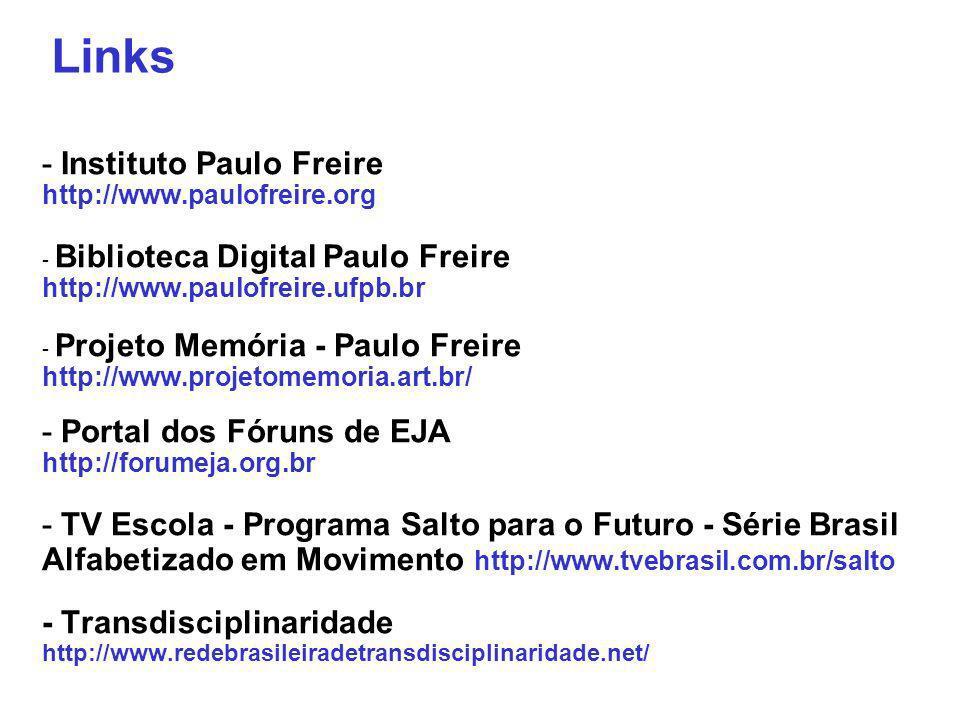 - Instituto Paulo Freire http://www.paulofreire.org - Biblioteca Digital Paulo Freire http://www.paulofreire.ufpb.br - Projeto Memória - Paulo Freire