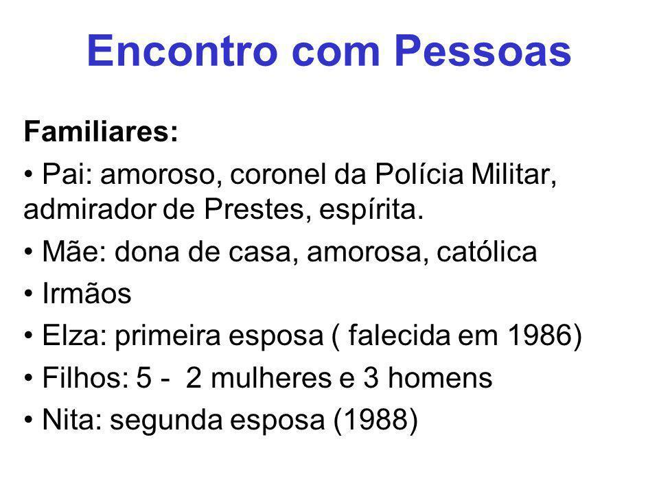 Encontro com Pessoas Familiares: Pai: amoroso, coronel da Polícia Militar, admirador de Prestes, espírita. Mãe: dona de casa, amorosa, católica Irmãos