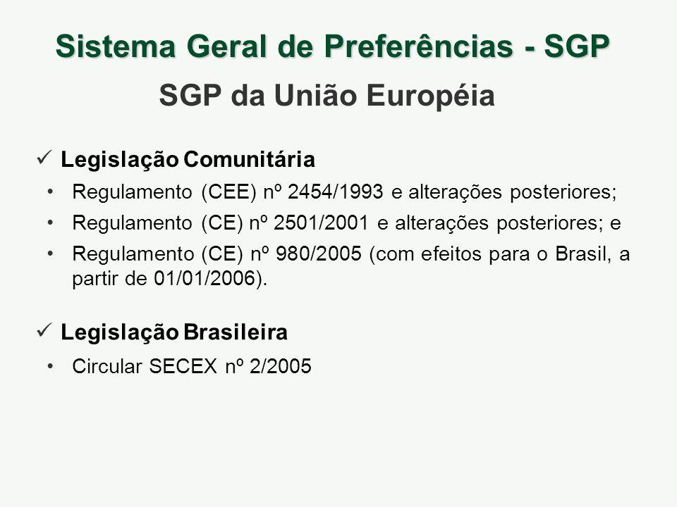 Legislação Comunitária Sistema Geral de Preferências - SGP SGP da União Européia Legislação Brasileira Regulamento (CEE) nº 2454/1993 e alterações pos