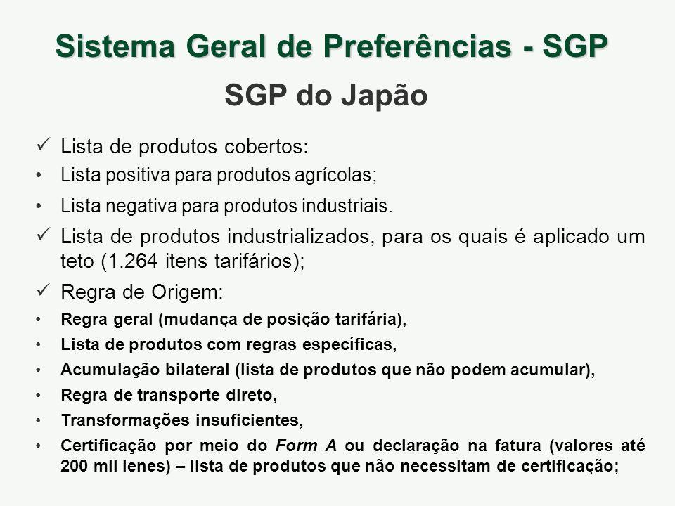 Sistema Geral de Preferências - SGP SGP do Japão Lista de produtos cobertos: Lista positiva para produtos agrícolas; Lista negativa para produtos indu