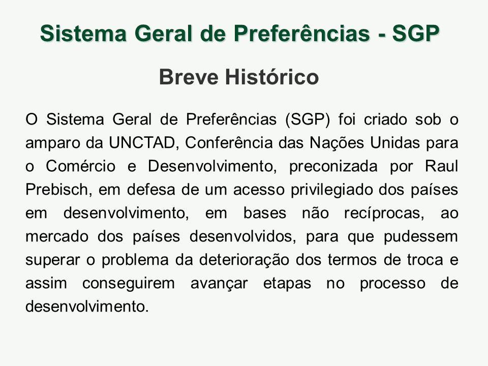 O Sistema Geral de Preferências (SGP) foi criado sob o amparo da UNCTAD, Conferência das Nações Unidas para o Comércio e Desenvolvimento, preconizada