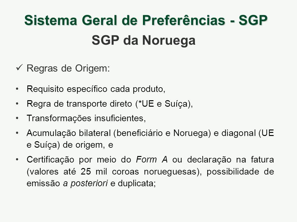 Sistema Geral de Preferências - SGP SGP da Noruega Requisito específico cada produto, Regra de transporte direto (*UE e Suíça), Transformações insufic