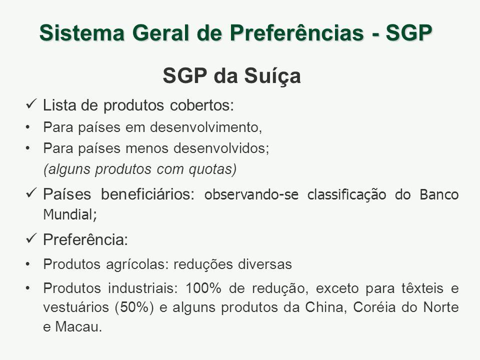Sistema Geral de Preferências - SGP SGP da Suíça Lista de produtos cobertos: Para países em desenvolvimento, Para países menos desenvolvidos; (alguns