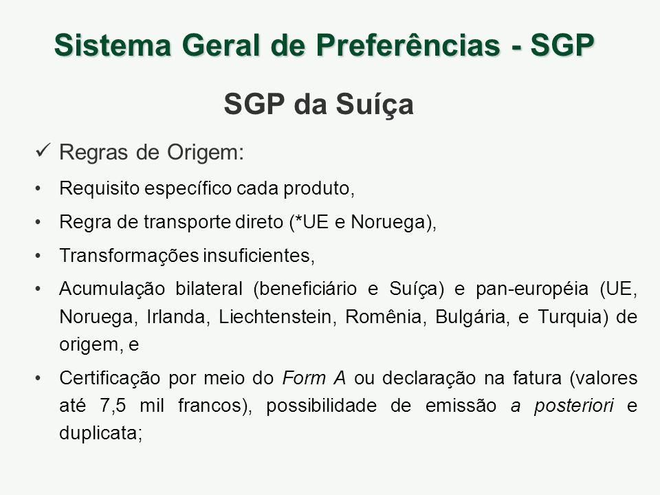 Sistema Geral de Preferências - SGP SGP da Suíça Requisito específico cada produto, Regra de transporte direto (*UE e Noruega), Transformações insufic
