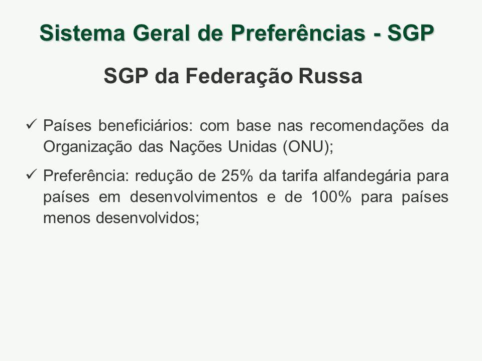Sistema Geral de Preferências - SGP SGP da Federação Russa Países beneficiários: com base nas recomendações da Organização das Nações Unidas (ONU); Pr