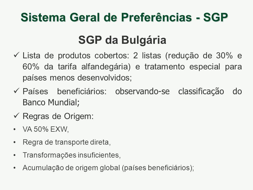Sistema Geral de Preferências - SGP SGP da Bulgária Lista de produtos cobertos: 2 listas (redução de 30% e 60% da tarifa alfandegária) e tratamento es