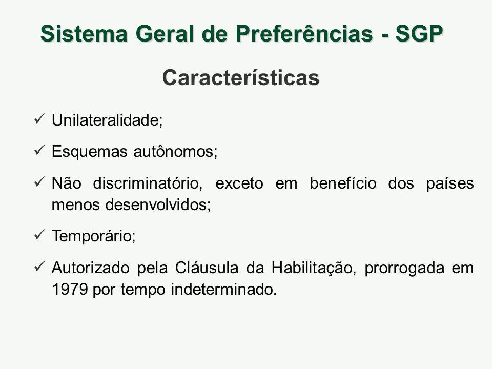 Sistema Geral de Preferências - SGP Unilateralidade; Esquemas autônomos; Não discriminatório, exceto em benefício dos países menos desenvolvidos; Temp