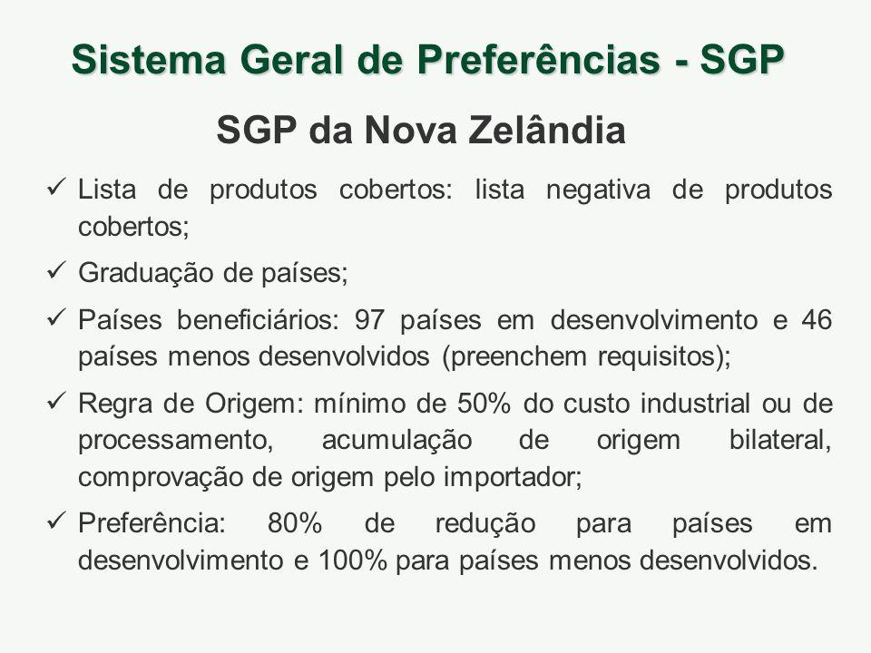 Sistema Geral de Preferências - SGP SGP da Nova Zelândia Lista de produtos cobertos: lista negativa de produtos cobertos; Graduação de países; Países