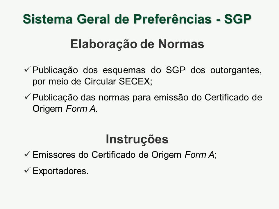 Publicação dos esquemas do SGP dos outorgantes, por meio de Circular SECEX; Publicação das normas para emissão do Certificado de Origem Form A. Sistem