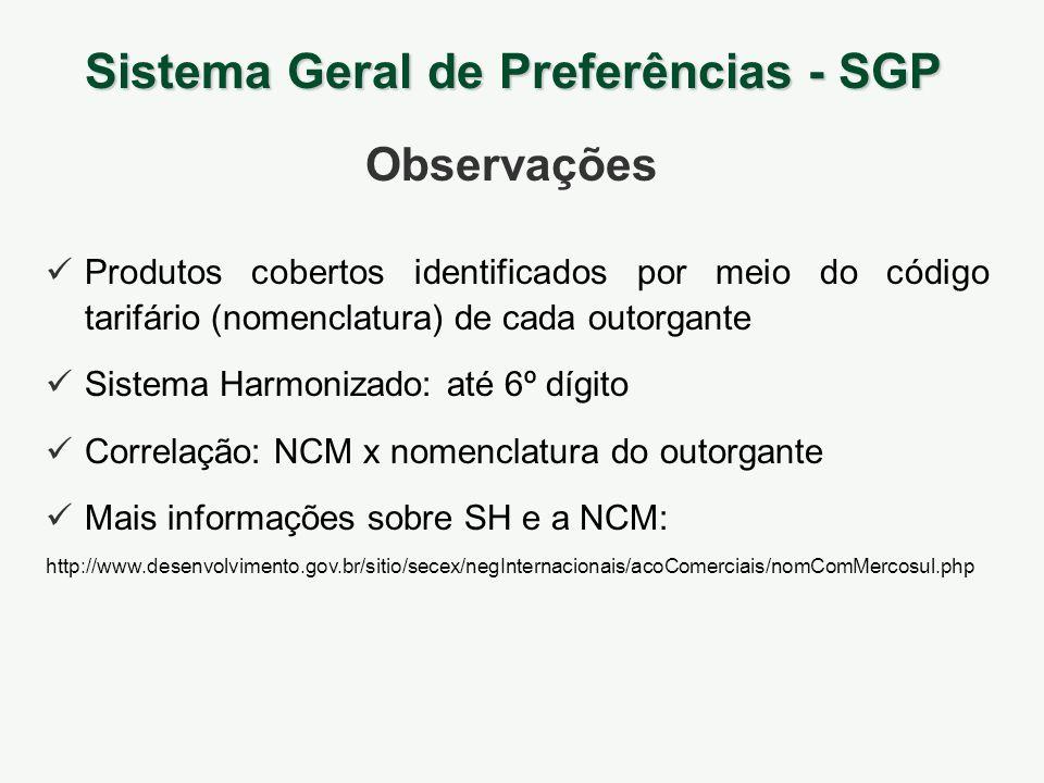 Produtos cobertos identificados por meio do código tarifário (nomenclatura) de cada outorgante Sistema Harmonizado: até 6º dígito Correlação: NCM x no