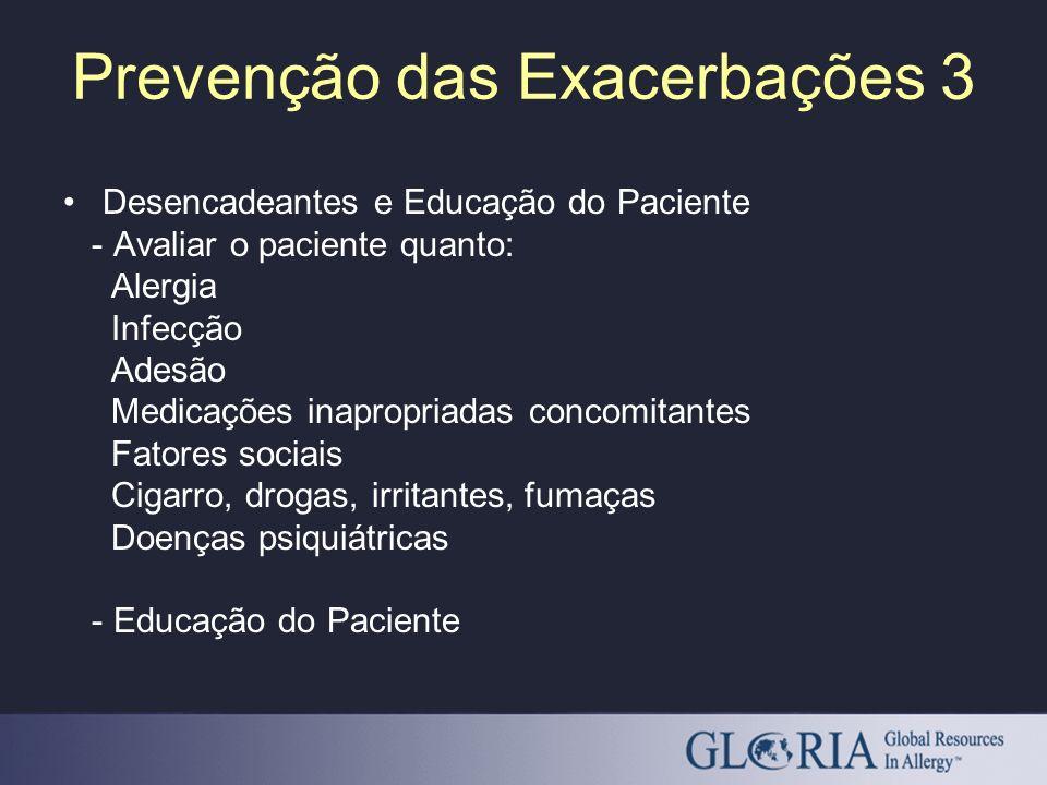 Desencadeantes e Educação do Paciente - Avaliar o paciente quanto: Alergia Infecção Adesão Medicações inapropriadas concomitantes Fatores sociais Ciga