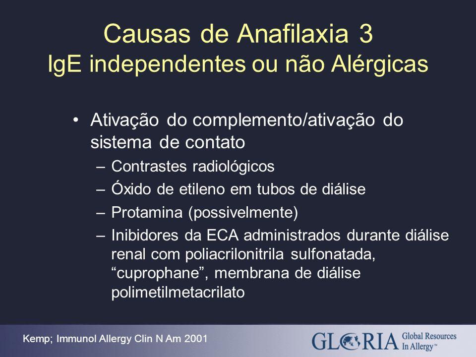 Causas de Anafilaxia 3 IgE independentes ou não Alérgicas Ativação do complemento/ativação do sistema de contato –Contrastes radiológicos –Óxido de et