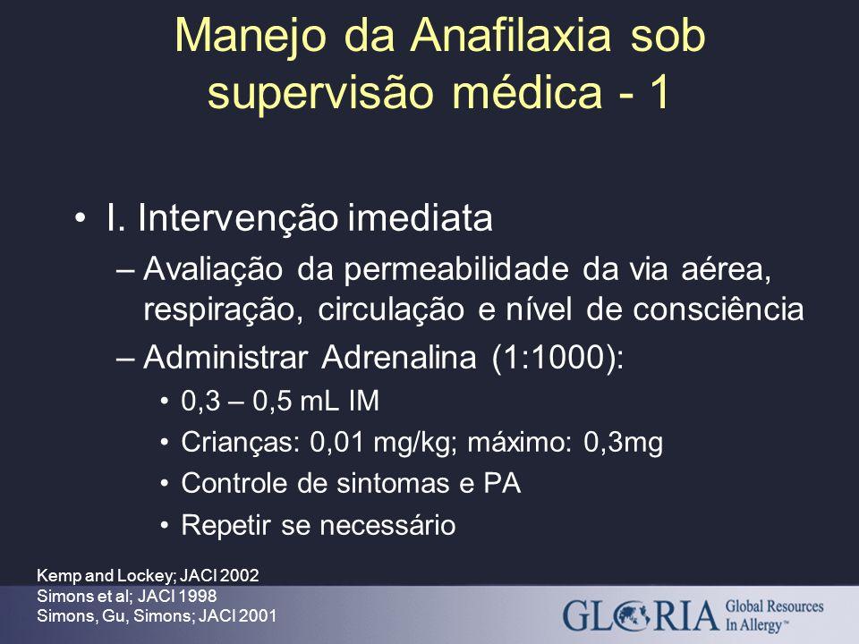 Manejo da Anafilaxia sob supervisão médica - 1 Kemp and Lockey; JACI 2002 Simons et al; JACI 1998 Simons, Gu, Simons; JACI 2001 I. Intervenção imediat