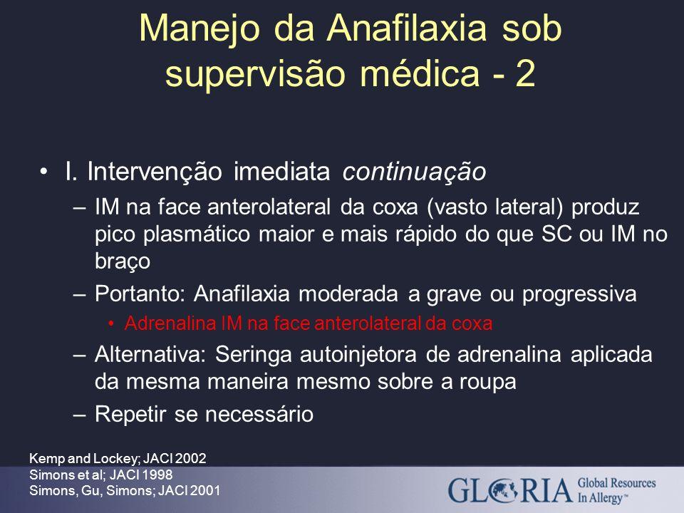 Manejo da Anafilaxia sob supervisão médica - 2 Kemp and Lockey; JACI 2002 Simons et al; JACI 1998 Simons, Gu, Simons; JACI 2001 I. Intervenção imediat