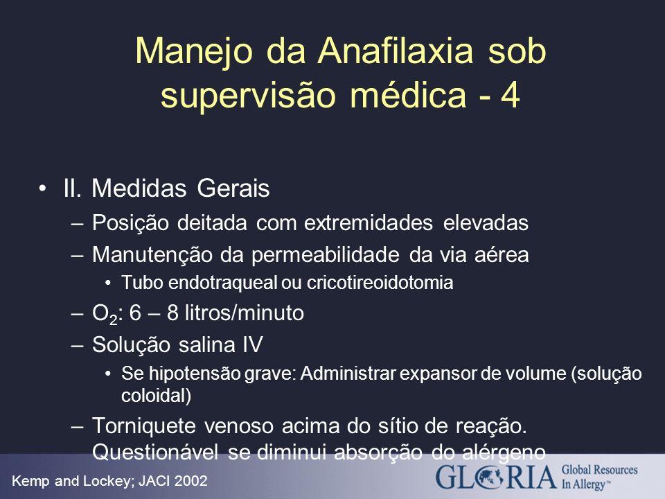Manejo da Anafilaxia sob supervisão médica - 4 Kemp and Lockey; JACI 2002 II. Medidas Gerais –Posição deitada com extremidades elevadas –Manutenção da