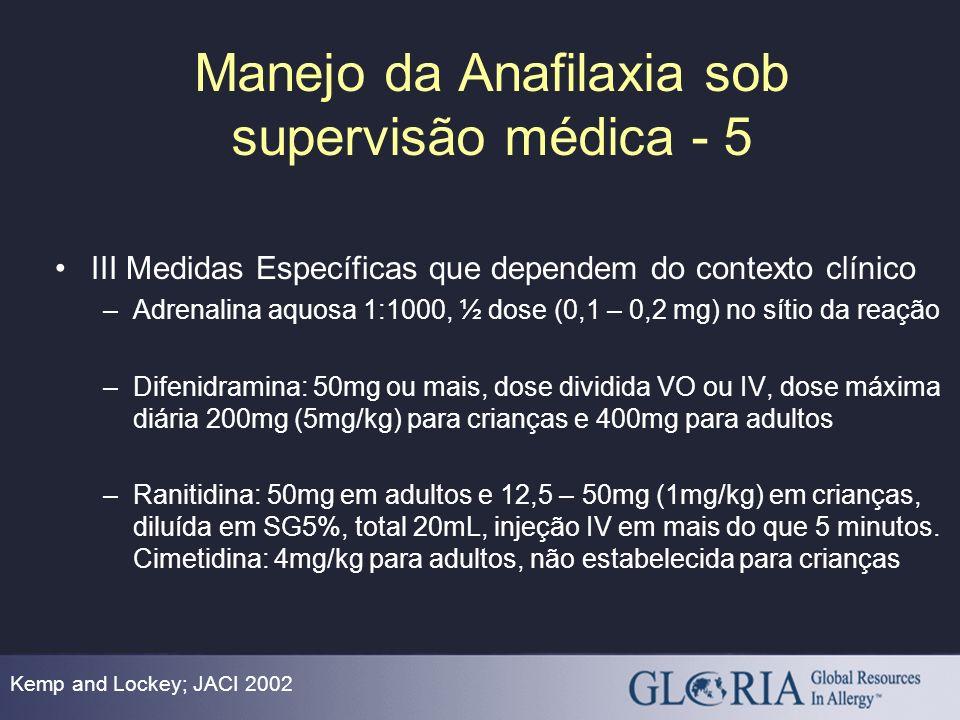 Manejo da Anafilaxia sob supervisão médica - 5 Kemp and Lockey; JACI 2002 III Medidas Específicas que dependem do contexto clínico –Adrenalina aquosa