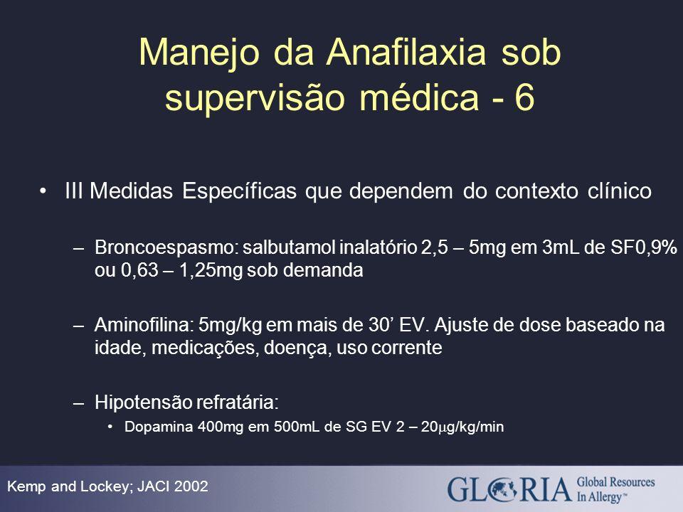 Manejo da Anafilaxia sob supervisão médica - 6 Kemp and Lockey; JACI 2002 III Medidas Específicas que dependem do contexto clínico –Broncoespasmo: sal