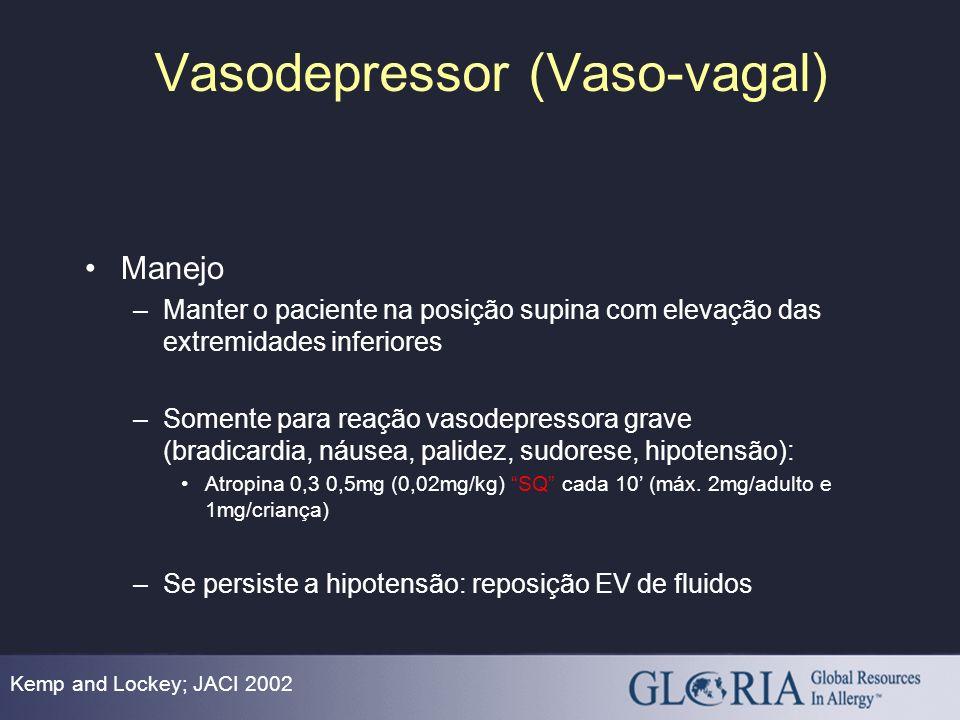 Vasodepressor (Vaso-vagal) Kemp and Lockey; JACI 2002 Manejo –Manter o paciente na posição supina com elevação das extremidades inferiores –Somente pa