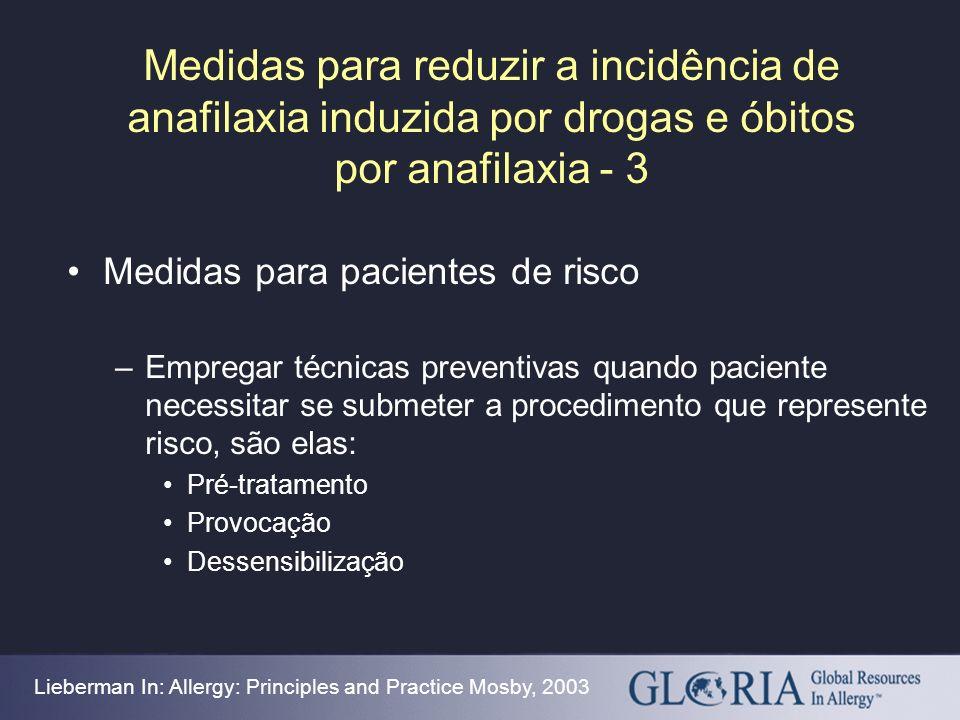 Medidas para reduzir a incidência de anafilaxia induzida por drogas e óbitos por anafilaxia - 3 Medidas para pacientes de risco –Empregar técnicas pre